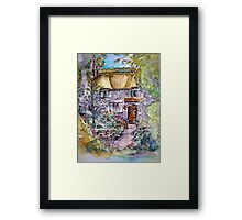 Thatched Cottage Watercolour and Ink Painting Framed Print
