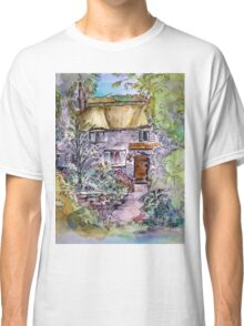 Thatched Cottage Watercolour and Ink Painting Classic T-Shirt