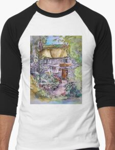 Thatched Cottage Watercolour and Ink Painting Men's Baseball ¾ T-Shirt