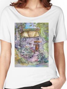 Thatched Cottage Watercolour and Ink Painting Women's Relaxed Fit T-Shirt