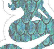Blue Scale Mermaid Silhouette Sticker