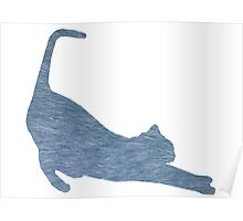 Blue Furry Cat Silhouette Poster