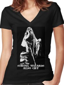 Strong Wizards Also Cry Women's Fitted V-Neck T-Shirt