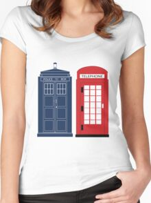 Dr. Who Phone Booth Women's Fitted Scoop T-Shirt