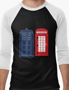 Dr. Who Phone Booth Men's Baseball ¾ T-Shirt