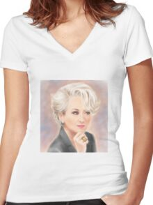 Meryl Streep The Devil Wears Prada Women's Fitted V-Neck T-Shirt