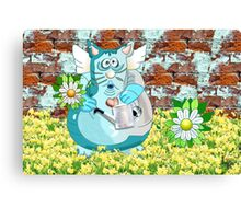 Cat with Flower Canvas Print