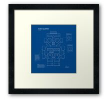 Retro robot blueprint Framed Print