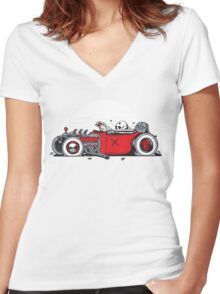 Ed's Dead Sled Women's Fitted V-Neck T-Shirt