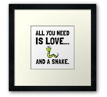 Love And A Snake Framed Print