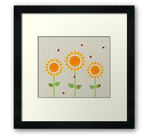 Sunflower and Ladybugs Framed Print