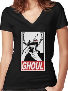Kaneki - Tokyo Ghoul  Women's Fitted V-Neck T-Shirt