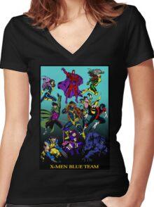 X-Men Blue Team Women's Fitted V-Neck T-Shirt