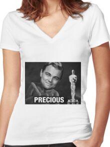 Leonardo reacting to Oscar Women's Fitted V-Neck T-Shirt