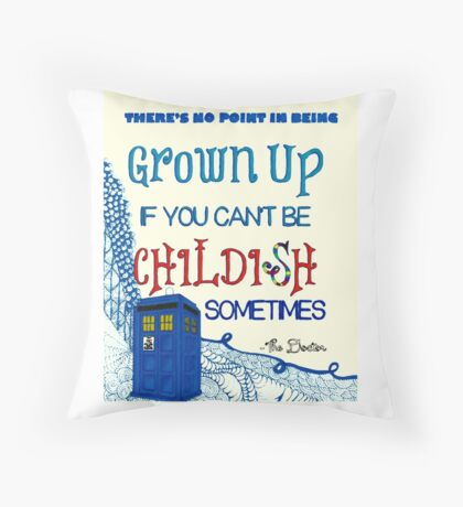 Dr. Who Zentangle Quote Throw Pillow