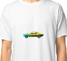 1965 MUSTANG BASE BLUE ON GOLD FLAME Classic T-Shirt
