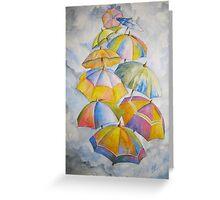 Umbrella Rainy Day Blues 2 Watercolour Painting Greeting Card