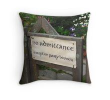 The Hobbit Lord of the Rings No admittance Throw Pillow
