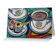 Tea for Three - Tea and Cake Section  Greeting Card