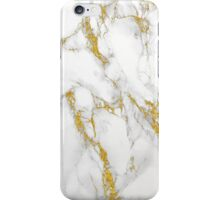 White Marble Stone Gold Accents iPhone Case/Skin