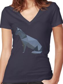 ORIGAMI CAT VECTOR Women's Fitted V-Neck T-Shirt