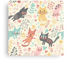 Cute Cat Pattern Canvas Print