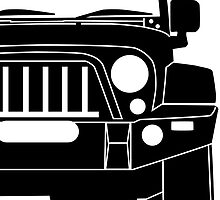 JK Jeep Wrangler with Bull Bar - Front Left Corner & Zoom - Sticker / Phone Case by TheStickerLab