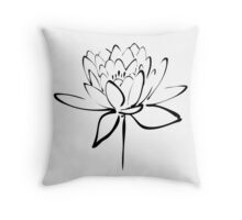 Lotus Flower Calligraphy (Black) Throw Pillow