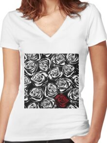 Seamless pattern with black roses flowers.  Women's Fitted V-Neck T-Shirt