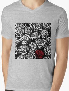 Seamless pattern with black roses flowers.  Mens V-Neck T-Shirt