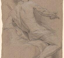 French School 18th century Seated Draped Nude Seen Three-Quarters from the Back. by Adam Asar
