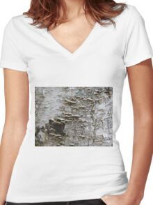 Bark Mushrooms Women's Fitted V-Neck T-Shirt