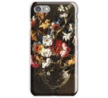 Juan de Arellano - Daffodils, Tulips, Carnations, Roses and an Iris in a Glass Vase Daffodils, Roses and other Flowers in a Glass Vase iPhone Case/Skin