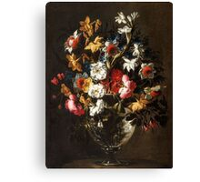 Juan de Arellano - Daffodils, Tulips, Carnations, Roses and an Iris in a Glass Vase Daffodils, Roses and other Flowers in a Glass Vase Canvas Print
