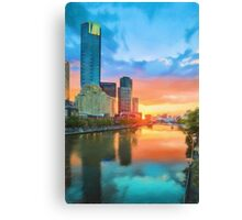 Melbourne River Sunset (GO3) Canvas Print