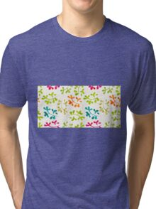 Floral pattern with cute leaves Tri-blend T-Shirt