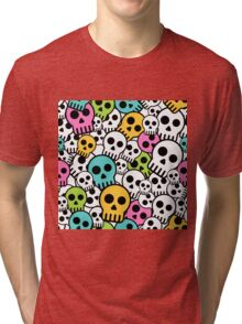 Cute Colorful Skull Design Tri-blend T-Shirt