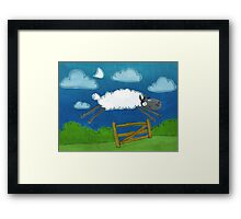 Counting sheep sketch art Framed Print