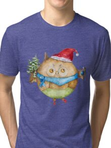 Christmas owl Tri-blend T-Shirt