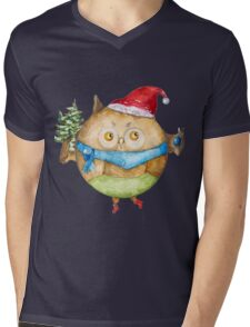 Christmas owl Mens V-Neck T-Shirt