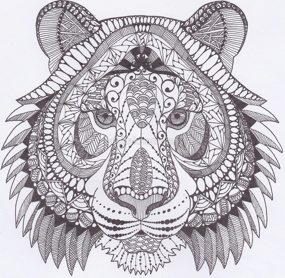 Black and white graphic decor - Quot Zentangle Inspired Art Bengal Tiger Black And White Quot By