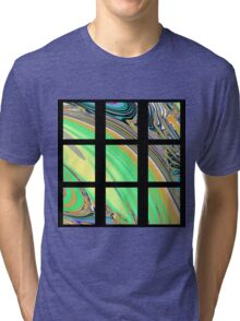 Black Window with Colorful Marbled Panels Tri-blend T-Shirt