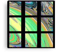 Black Window with Colorful Marbled Panels Canvas Print