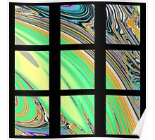 Black Window with Colorful Marbled Panels Poster
