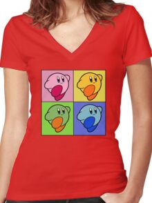 Kirby Colour Women's Fitted V-Neck T-Shirt