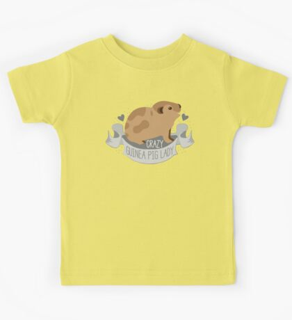 Crazy Guinea Pig Lady (Banner) Kids Tee