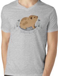 Crazy Guinea Pig Lady (Banner) Mens V-Neck T-Shirt