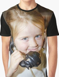 Cute preschooler girl talking by old vintage retro telephon, closeup portrait Graphic T-Shirt