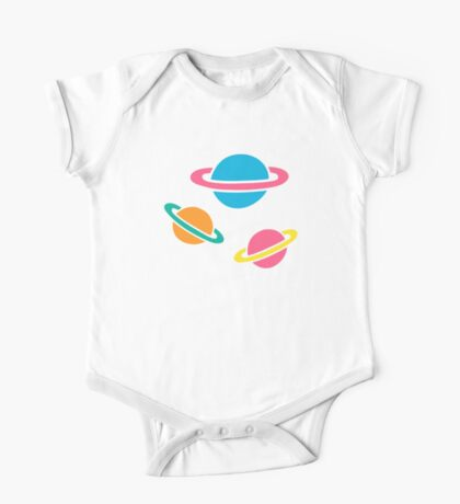 Pink Planets Pattern One Piece - Short Sleeve