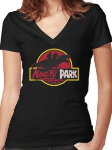 Kung Fu Park Women's Fitted V-Neck T-Shirt
